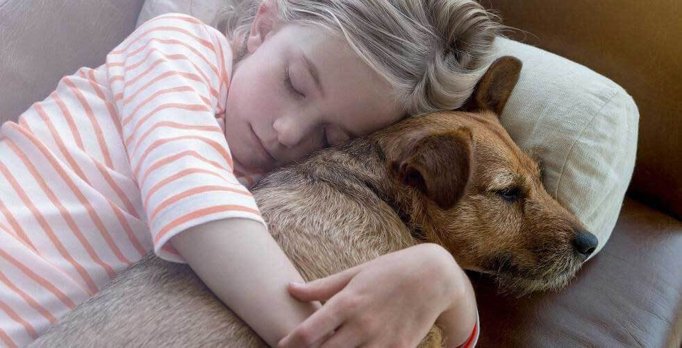 Child and pet cuddling